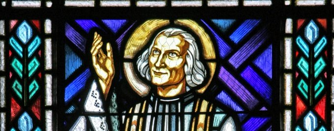 St. John Vianney stained glass - Church of Notre Dame de Malades - Vichy, France