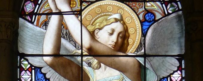 St. Raphael the Archangel stained glass - Église Notre-Dame-de-Compassion - Paris, France