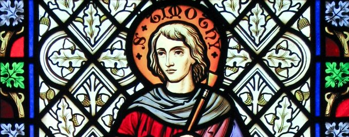 St. Timothy stained glass - St. Lawrence Church - Chicheley, Buckinghamshire, England