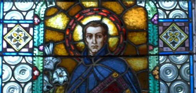 St. Cajetan stained glass in Church of Unterlaussa - Austria