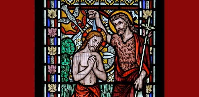St. John the Baptist stained glass - St. James Church - Waresley, Cambridgeshire, England