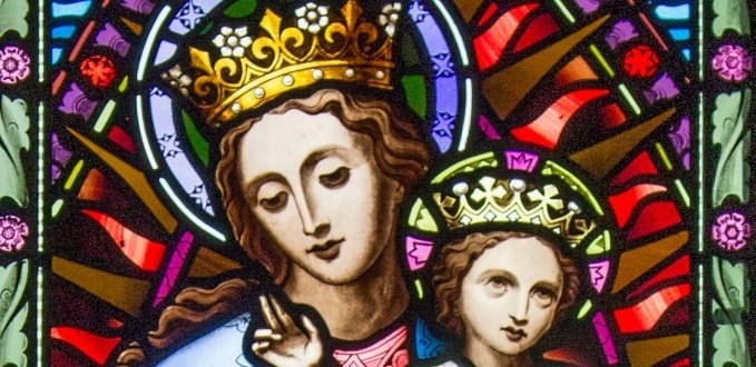 Mary as Queen stained glass – Lady Chapel, St Cuthbert's Catholic Church – Durham, England